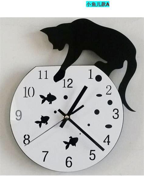 cool wall clocks vertical home garden hot sale 2015 diy black white cat fish creative quartz