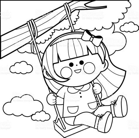 imagenes de niños jugando en un columpio para colorear jugar para colorear latest dibujos de nios jugando para