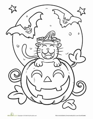 halloween coloring page first grade cute halloween coloring pages education com