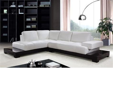 Dreamfurniture Com Modern White Leather Sectional Sofa