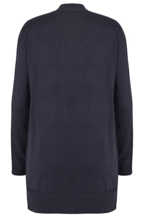 Turn Buckle Span Skrup No 24 navy knit edge to edge rib trim cardigan with pockets