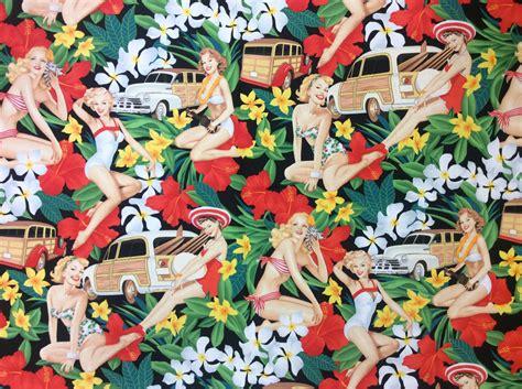pin up pattern fabric tiki surf hula luau tropic party