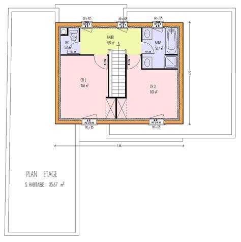 Plan Maison Etage 3 Chambres by Mod 232 Les Maisons 224 Ossature Bois Page 1
