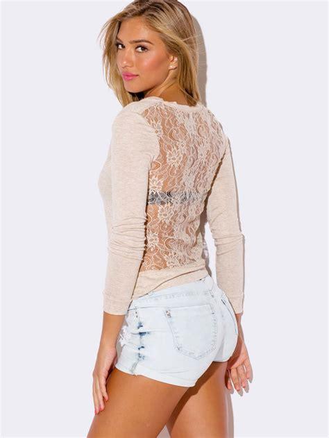 Roundhand Sweater Sweater Rajut 1 beige lace back cardigan sweater modishonline