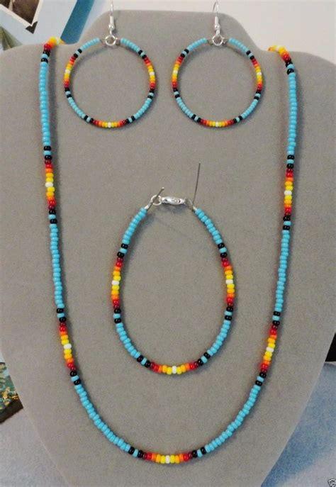 how to make american beaded bracelets blue turquoise sunburst beaded necklace earring bracelet