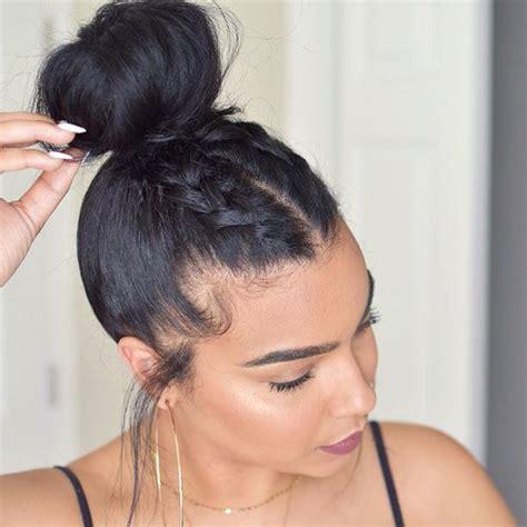 two braids goung into a ponytail natural hair hair accessory tumblr black hair hair bun hair