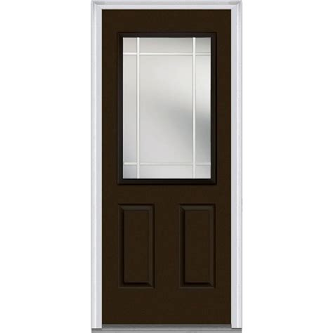 Steel Exterior Doors With Glass Milliken Millwork 37 5 In X 81 75 In Classic Clear Glass Pim 1 2 Lite 2 Panel Painted Majestic