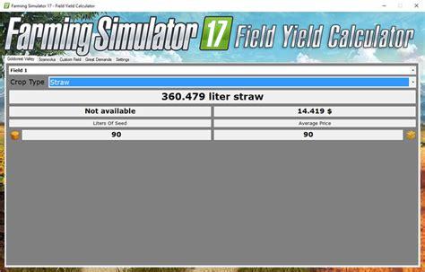 calculator yield field yield calculator v 1 1 ls 2017 farming simulator