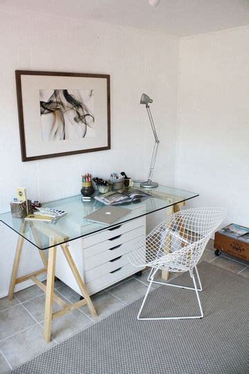 Diy Glass Top Desk Glass Top Desk With White Wooden Chest Of Drawers Underneath Ikea Lerberg Table Leg Ideas