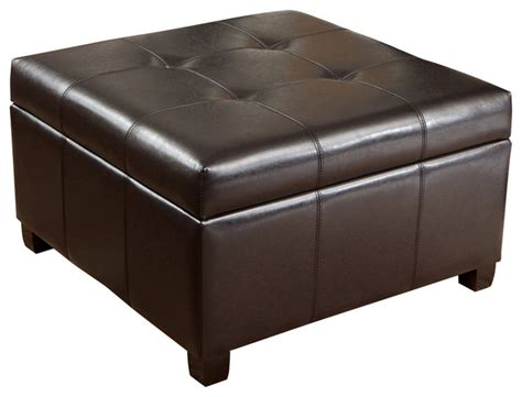 Brown Leather Ottoman Coffee Table With Storage Tufted Espresso Brown Leather Storage Ottoman Coffee Table