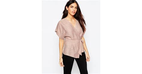 Obi Band Wrap Blouse Bhn Wedges Superfit To L Besar lyst asos casual obi band wrap blouse pink in