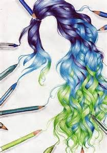 Drawing of purple blue and green curly hair i don t like the green