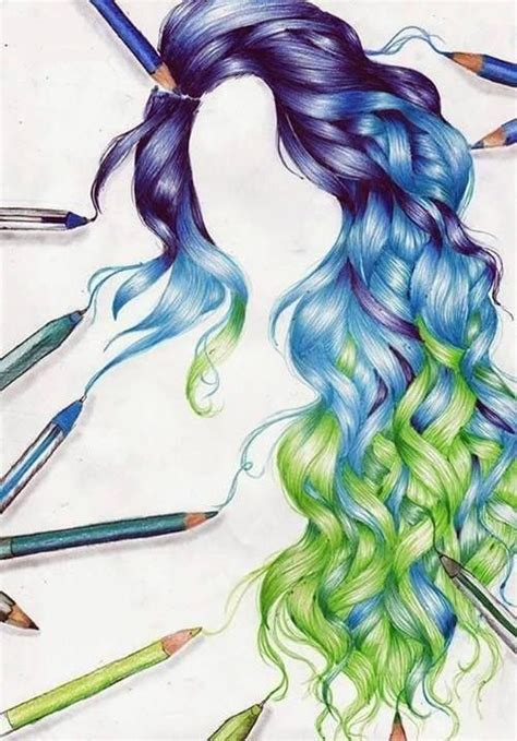 Drawing Of Purple Blue And Green Curly Hair Colorful Drawing Top Beautiful Color Images