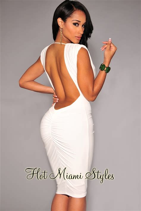 Off White Ruched Low Back Dress