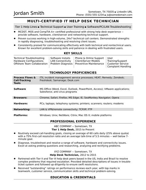 resume help skills sle resume for a midlevel it help desk professional
