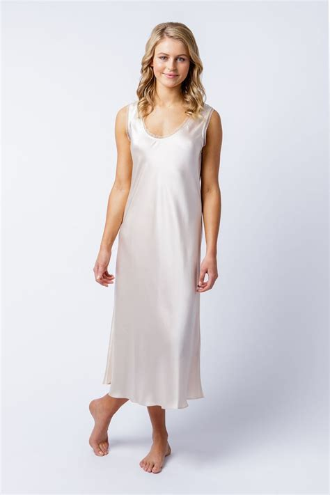 Satin Silk 10 the cate nightdress made in 100 silk satin with cotton lace edging is simple yet drapes the