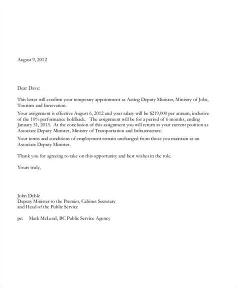 temporary appointment letter template sample