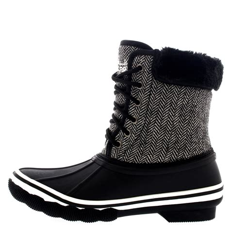 and snow boots womens rubber sole tread winter textile fur cuff snow
