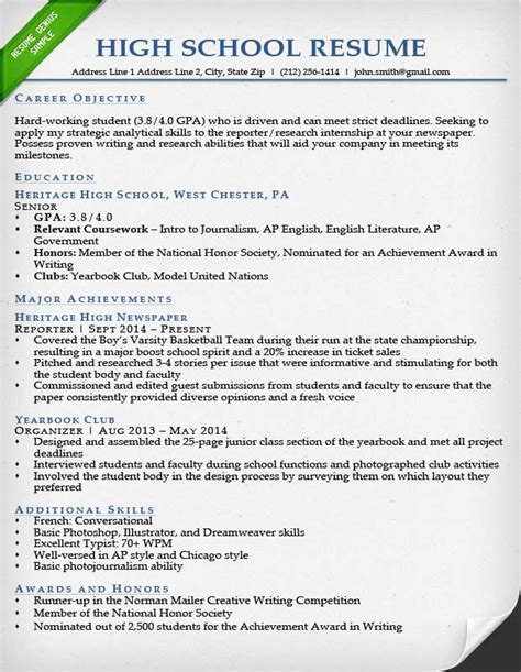 resume for high school students internship resume sles writing guide resume genius