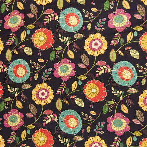 midnight black floral cotton print upholstery fabric