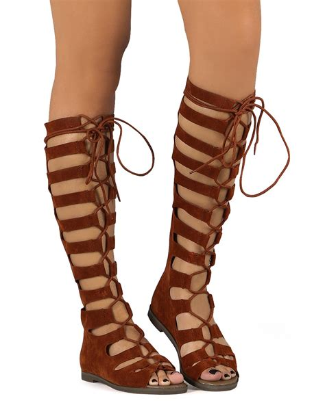 knee high gladiator sandal new breckelles 71 suede gilly tie peep toe knee