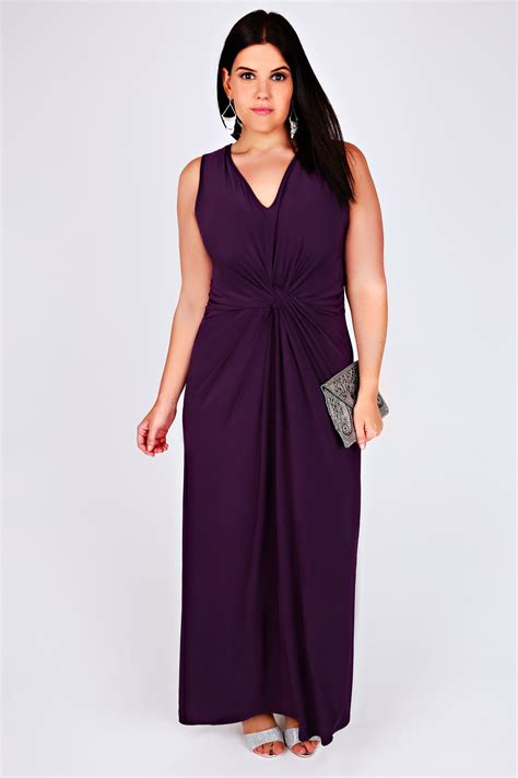 Purple Maxi Dress purple v neck maxi dress with twisted knot front detail