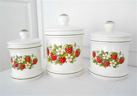 canisters kitchen decor canisters strawberry kitchen decor set of three kitchen decor third and kitchens