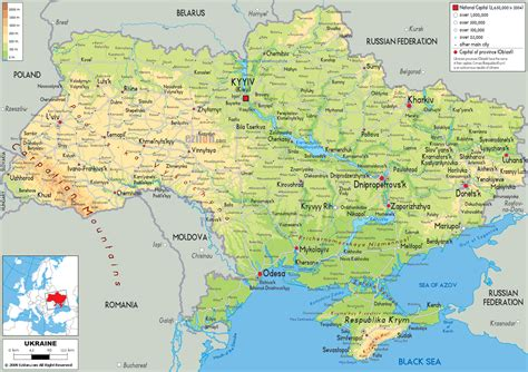map ukraine cities large detailed physical map of ukraine with all roads