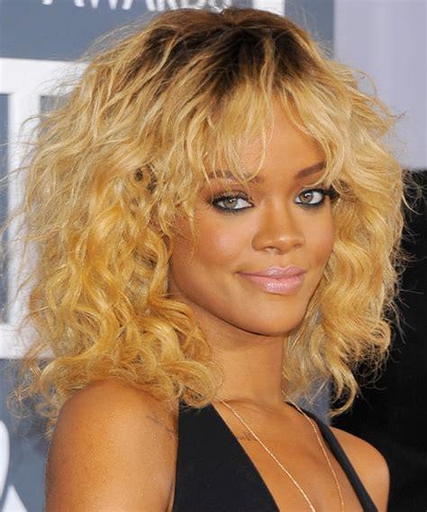 Rihanna Medium Wavy Casual Shag Hairstyle with Layered