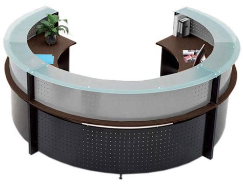 glass top reception desk semi circular glass top reception desk