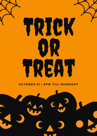 canva halloween flyer orange and black trick or treat halloween flyer