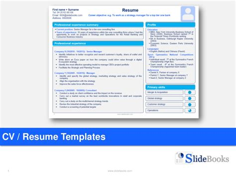 Resume Cv Templates In Editable Powerpoint Powerpoint Resume Template Free