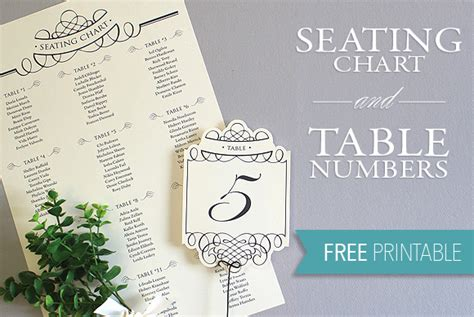 printable seating chart table number template