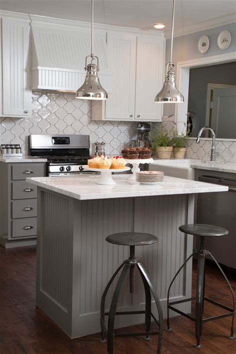 hgtv kitchen island ideas as seen on hgtv s quot fixer quot the gray beadboard on the island kitchen