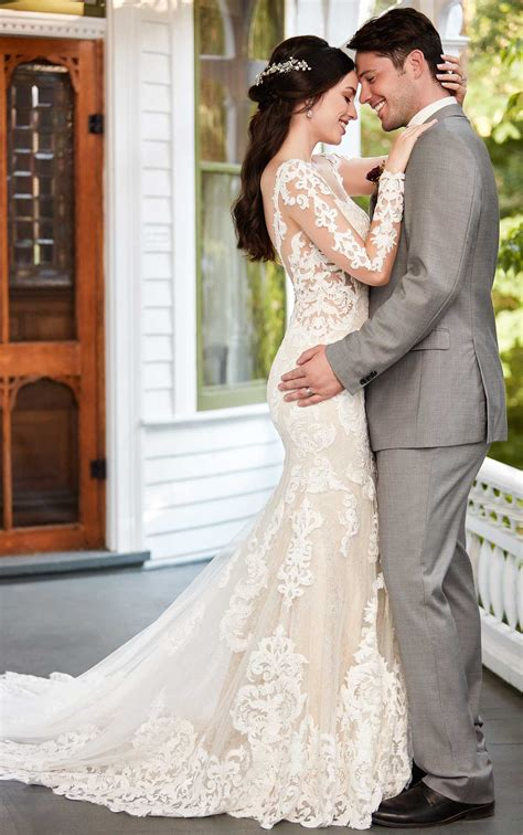 Sleeve Patterned Dress sleeved floral patterned wedding gown