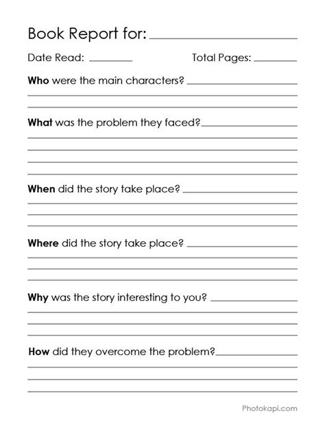 book report printable book report page and reading chart my graphic