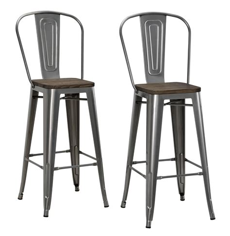 metal bar stool with wooden seat dorel luxor gun metal 30 quot metal bar stool with wood seat set of 2