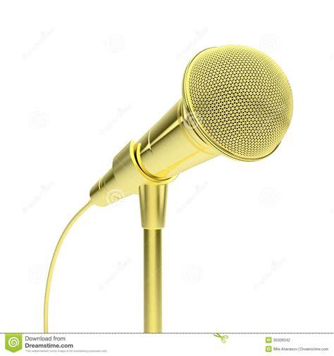 Micro Studio Plan gold microphone stock photography image 35009342