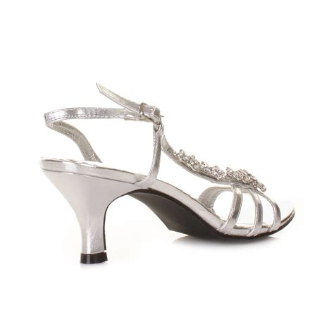 shoes for womens low heel silver flower diamante slingback