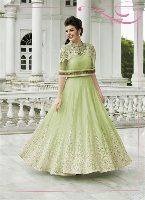 Pista Color by Modern Green Indo Western Designer Gown