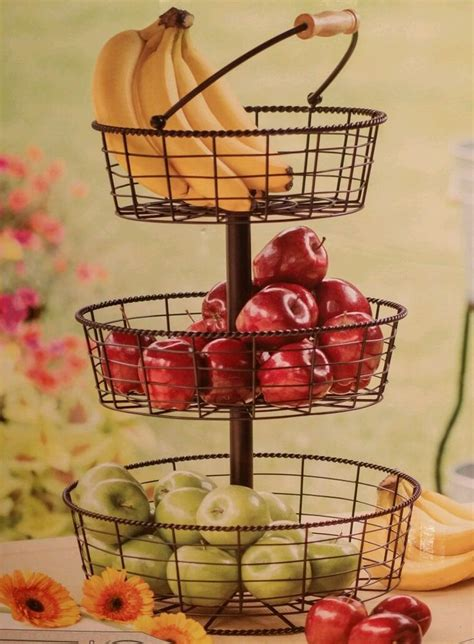 3 tier wire wrought iron basket fruit vegetable counter