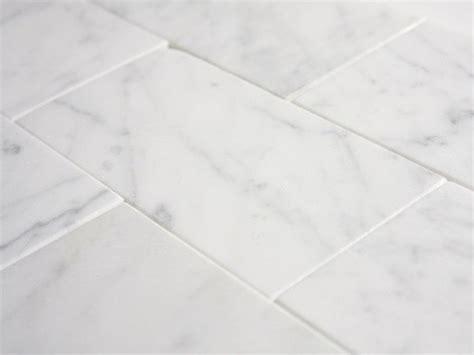 "Italian White Carrara 3"" x 6"" Subway Honed Marble Tile"