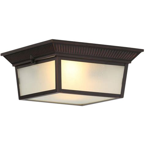 flush mount exterior light hton bay 2 light indoor outdoor oil rubbed bronze