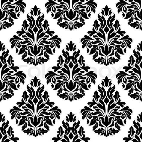 black and design intricate black and white arabesque design with a large repeat foliate motif in a busy seamless