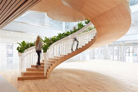 Bottom Floor by A Living Staircase Adds A Element To A Office