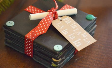 The Best Handmade Gifts - diy chalkboard coasters easy handmade gift idea