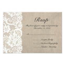 rsvp cards wedding white lace and burlap wedding rsvp card 3 5 quot x 5