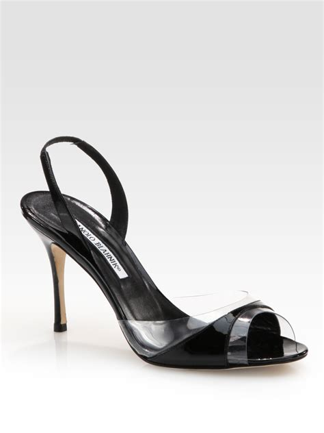 manolo blahnik sandals manolo blahnik lucymod patent leather slingback sandals in