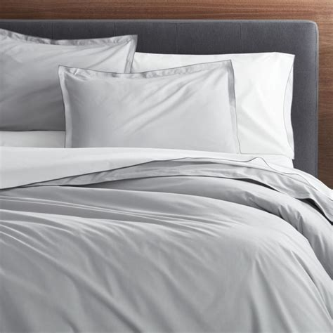 Belo Grey Full/Queen Duvet Cover   Crate and Barrel