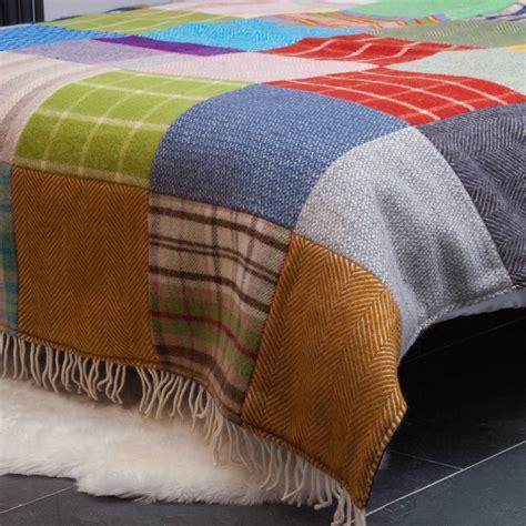 Patchwork Throw Blanket - patchwork wool blanket by atlantic blankets